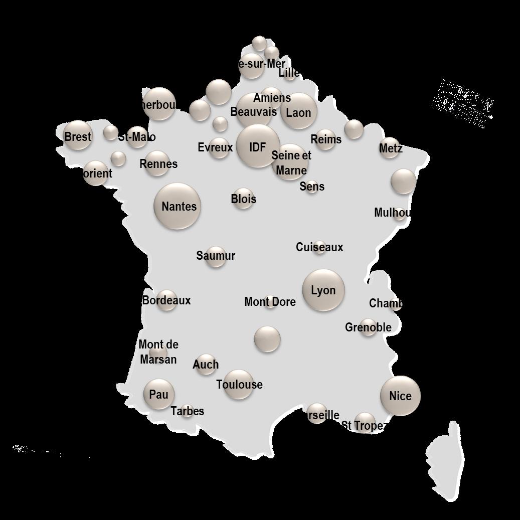 Carte de France implantation nos références